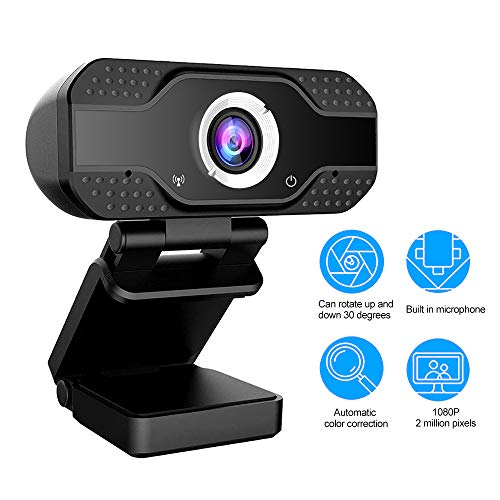 Lushforest 1080P Hd Webcam with Microphone, Full Hd 1080p/30fps Video Calling Web Camera, Pro Video Cam with USB Plug & Play for Skype, Live Class Conference, Hangouts, YouTube, Pc/Mac/Laptop/Tablet