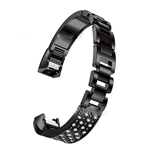 #N/V For Fitbit Alta Hr Universal Bracelet With Diamond Metal Strap Stainless Steel Braided Magnetic Adsorption Strap