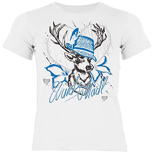 Bayrisches Trachten Kinder-Shirt - Trachten-Motiv Hirsch T-Shirt für Mädchen : Wuids MADL (Hut blau) - Volksfest/Oktoberfest/Tracht Kind Gr: XL= 158-164