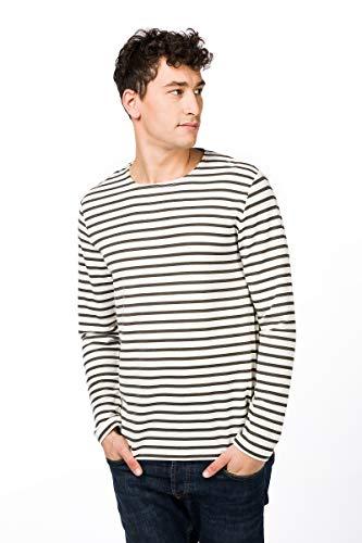 super.natural Travel Crew Printed Manches Longues Homme, Fresh White/Killer Kaki Fine Stripe Print, m