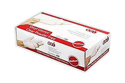 EDI Clear Powder Free Vinyl Glove,4.3 mil,Disposable glove,Industrial Glove,Clear, Latex Free and Allergy Free, Plastic, Work, Food Service, Cleaning,100 gloves per box (1000, medium)