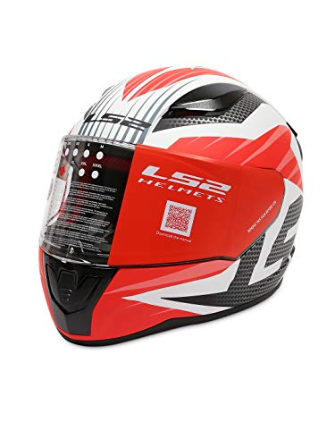 LS2 Helmets - FF353 - Rapid - Grid Matt White Red Single Visor Full Face Motorcycle Helmet (Size: XL – 59 cm)