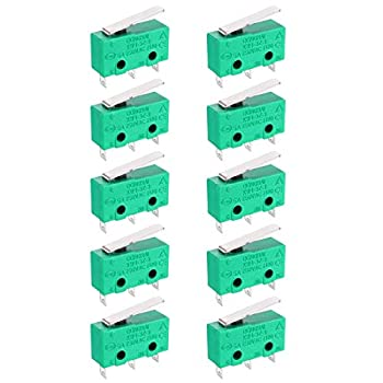 uxcell 10PCS KW4-3Z-3 Micro Limit Switch SPDT NO NC 3 Terminals Momentary Short Straight Lever Type Green