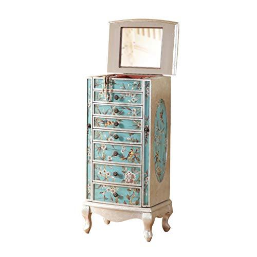 EVEN Cassettiera Armadio Porta Gioielli Grande in Piedi con 7 cassetti, Contenitore portagioie con Specchio Superiore