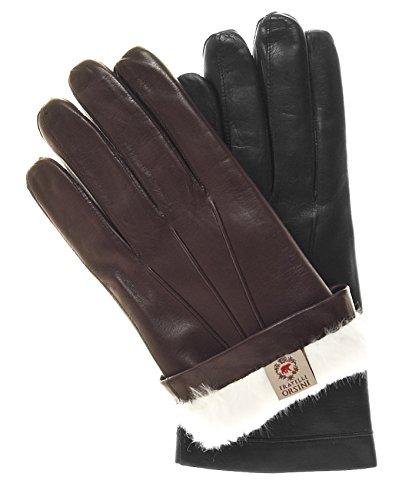 Fratelli Orsini Men's Italian Rabbit Fur Lined Leather Gloves Size 11 Color Black