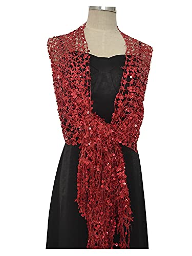 miaoyu Elegant Sequined Shawl Female New Wedding Cheongsam Floral Embroidery Accessories Bride Bridesmaid Party Lace Scarf (Color : Red sequined)