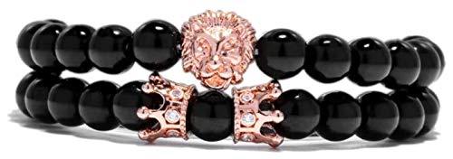 KEKEYANG Pulsera de piedra para mujer, 7 chakras, cuentas de piedra natural, pulsera de obsidiana para yoga, oro rosa, león y animales, pulsera elástica para mujer