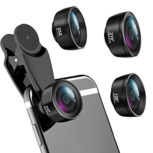 LIGINN 3 in 1 Phone Camera Lens Kit 210° Fisheye Lens+ 120 Super Wide-Angle Lens + 25x Macro Lens for iPhone Smartphones/Pixel/Samsung/Android Phones Camera and Travel Case