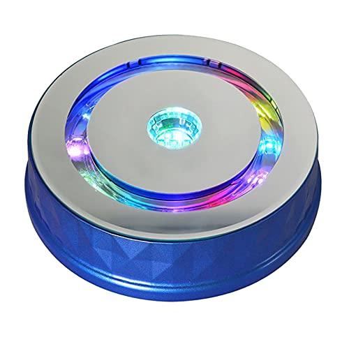 Sharplace Elektrischer Schmuck-Display-Drehtisch Bunte Lichter 2 Geschwindigkeiten Plattenspieler-Schaukasten für Schmuck Digitale Produkte Sammlerstücke - Blau