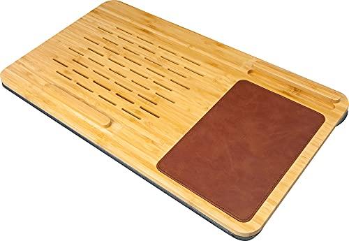 SCHWAIGER -659900- Laptop Unterlage Knieauflage für Laptops, Notebooks, Tablets, mit Mauspad und Smartphone Halter, bis 15 Zoll, aus nachhaltigem Bambus Holz