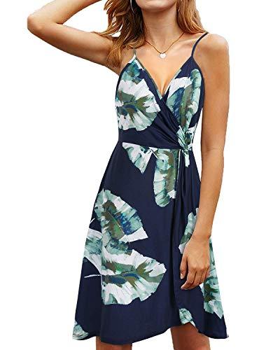 KILIG Women's Summer Dress V Neck Floral Twist Knot Pleated Spaghetti Strap Casual Sundress(B-Floral,Medium)