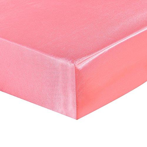 HYSENM Bettlaken Matratzenschoner Satin einfarbig mit Gummizug glatt verschiedene Größen, Rosa 160 x 200 cm