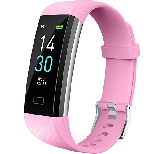 Vabogu Fitness Tracker HR, with Blood Pressure Heart Rate Monitor, Pedometer, Sleep Monitor, Calorie Counter, Vibrating Alarm, Clock IP68 Waterproof for Women Men (Pink)