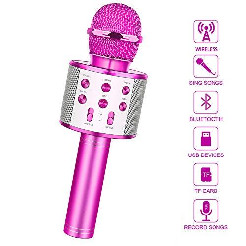 LetsGO toyz Bluetooth Microfono Karaoke per Bambini, Giocattolo Regalo Bambina 4-16 Anni Giocattoli Bambina 5-16 Anni Regali per Bambini Ragazza 4-15anni Microfono per Wireless (Lila)