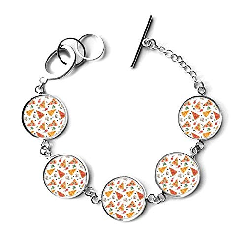 DIYthinker Delious Food Pizza Illustration Pattern Bracelet Chain Charm Bangle Jewelry