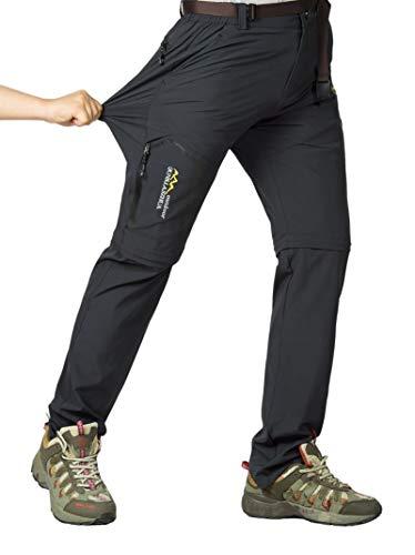 Leezepro Outdoor Hose Herren Zwei Teile zerlegbar mit Gürtel Sonnenschutz Schnell Trocknende Wanderhose Funktionshose (Verpackung/MEHRWEG) (XL, Grau3731)