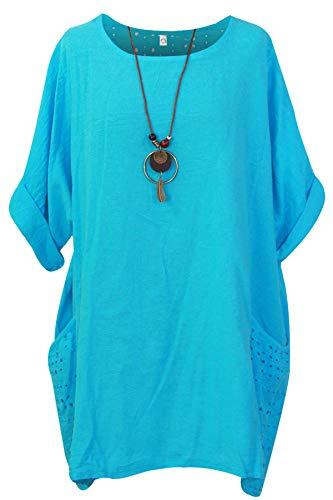 Storm Island Damski włoski prosty top kobiety lagenlook bawełniana luźna sukienka dwie kieszenie naszyjnik SI099