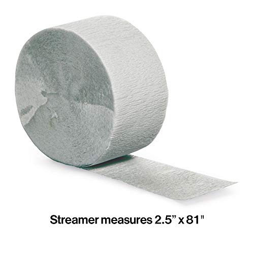 Creative Converting Touch of Color Crepe Paper Streamer Roll, 81-Feet, Shimmering Silver