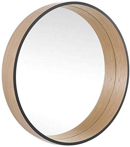 BD ART Rund Spiegel, Wanddekorativer Spiegel, Skandinavisches Design, Wandspiegel Design,Tief, 50cm Durchmesser, Holz, Eiche/Schwarz