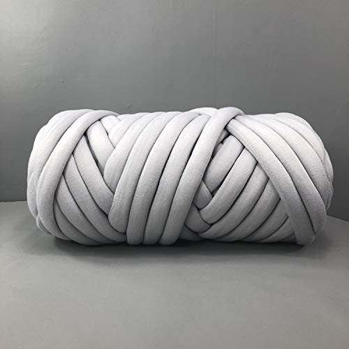 EASTSURE Chunky Braid Cotton Yarn Supre Large for Arm Knitting DIY Handmade Blankets Machine Washable,Grey,0.55LB