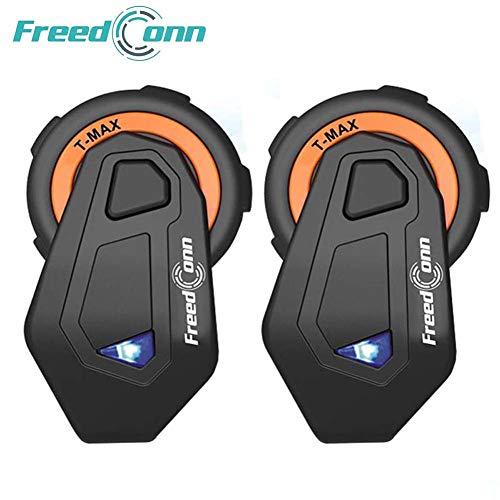 Freeconn Motorrad Headsets, T-Max Helm Bluetooth Headset Voll Duplex Walkie Talkie für 6 Fahrer Gruppe Intercom mit Bluetooth v4.1(2er Set mit Weichem Kabel)