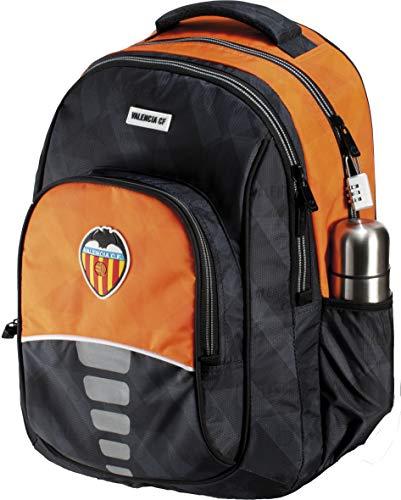 Mochila Valencia CF Centenario Doble Cuerpo Adaptable a Carro Gran Capacidad Color Negro y Naranja 34x45x15 cm