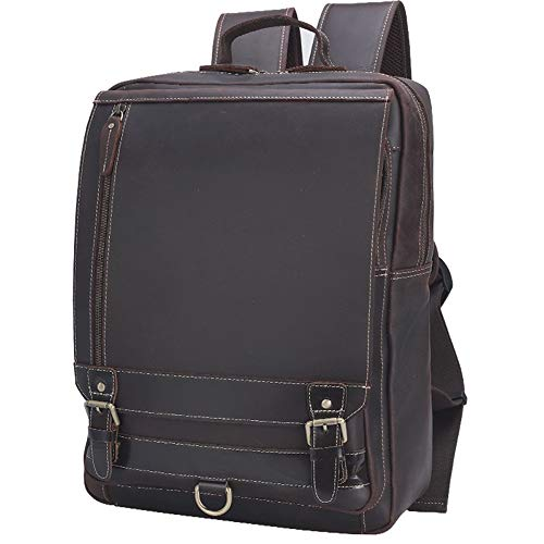 Backpack Mens Vintage Leather Backpack Rucksack School Book Bag- Fits 15.6 Inch Laptop Computer Travel Weekender Tote Daypacks Shoulder Bag Casual Daypack for Travel Business