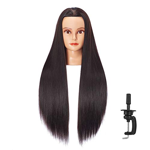 Hairlink 26-28'' Mannequin Head Synthetic Fiber Long Hair Styling Training Head Dolls for Cosmetology Manikin Maniquins Practice Head with Clamp Stand Holder (6611LB0220)