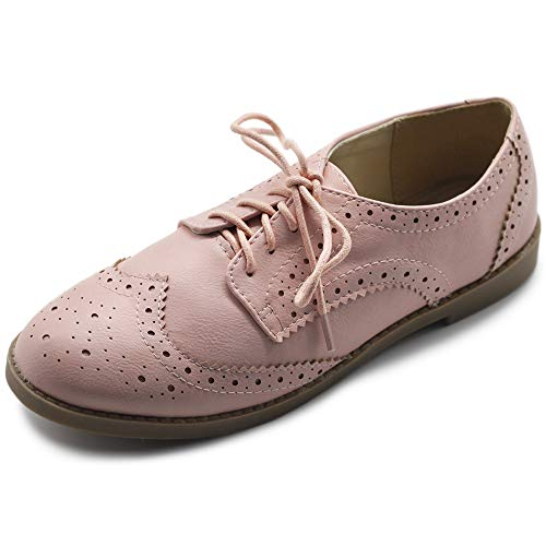 Ollio Women's Flats Shoes Wingtip Lace Up Oxfords M2921 (8 B(M) US, Nude Pink)