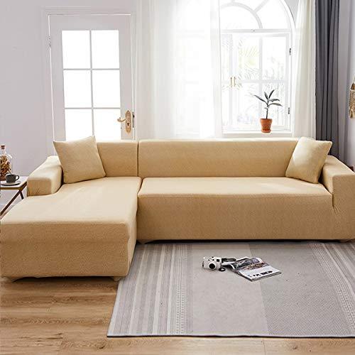 Funda para sofá de dos plazas Funda de sofá de 1 pieza para reposabrazos Sofá de esquina con asientos dobles Protector de sofá elástico Fundas para muebles Proteger de mascotas Niños (beige)