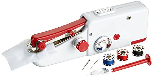 EASYmaxx 02927 Hand-Nähmaschine kompakt | nur 21 cm groß | Ideal für unterwegs | Batteriebetrieben | Weiß