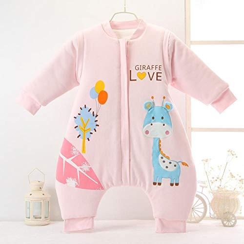 Unisex baby inbakerdekens, gebreide katoenen babyslaapzak met gespleten benen - Fawn pink_XL2-3 jaar, dikke warme slaapzak voor pasgeboren baby's