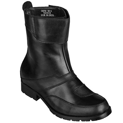 CALTO Men's Invisible Height Increasing Elevator Shoes - Black Leather...
