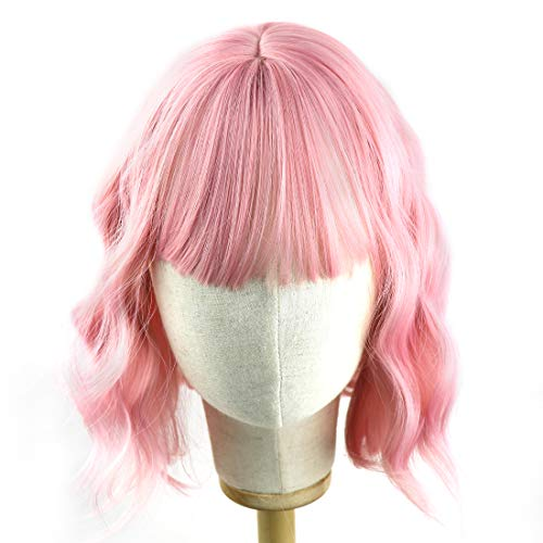 Flandi Synthetic Short Curly Bob Wavy Pink Wig with Bangs for Women Shoulder Length Pastel Bob Style Synthetic Wigs with Air Bangs for White Women Curly Bob Wig Natural Looking Heat Resistant Wigs