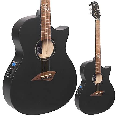 Lindo Slim ORG-SL Infinity - Guitarra electroacústica negra con sintonizador preamplificador LCD integrado