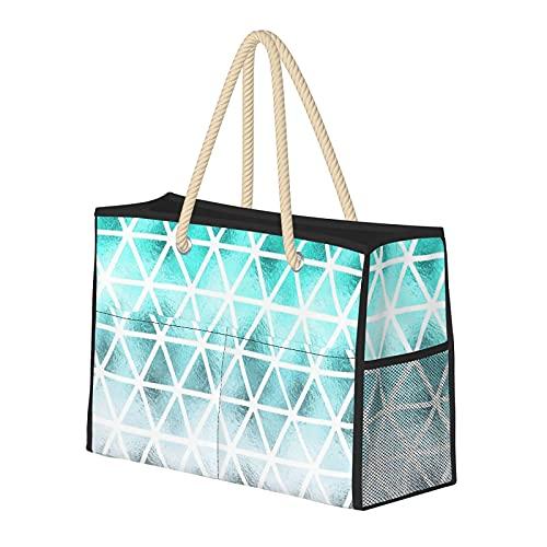 FJJLOVE Bolso de playa grande Teal Blue Ombre Triángulos geométricos Patrón Bolso de hombro para mujer - Bolso de mano con asas