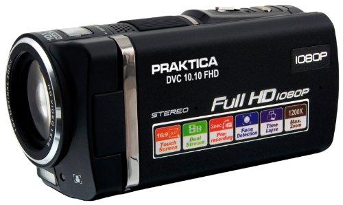 Praktica DVC 10.10 FHD Camcorder (10 Megapixel, 8,9 cm (3,5 Zoll) Touchscreen Display, 10-Fach Opt. Zoom, SD/SDHC Karten-Slot) schwarz