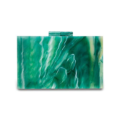 Lxc Emerald Green Acrylic Square Box Tasche Texturiert Texturiert Lady Clutch-Bag Mode-Schulter Crossbody Beutel-Abend-Kleid-Beutel (18 * 5 * 11cm) edel
