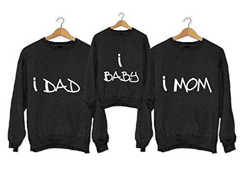 love print Trío de sudaderas personalizadas para familias, padres, madres, hijos, I Dad I Baby I Mom