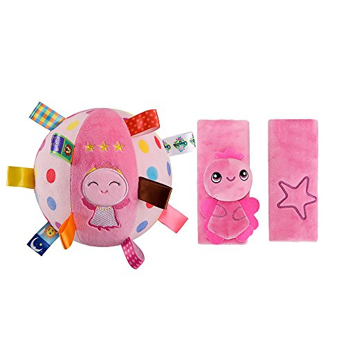 INCHANT enfants Pink Seat peluche Baudrier couverture et rose d'ange Balises Balle souple Toy cloche anneau Ball, 2pcs