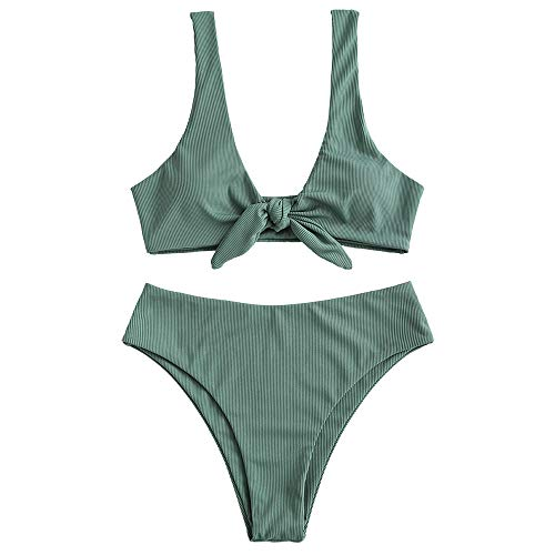ZAFUL Women's Tie Knot Front Sexy Bikini Swimsuit Front Ribbed Swimwear Set