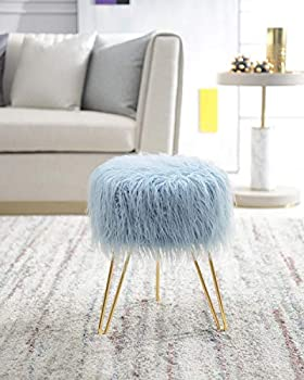 Comfortland Blue Faux Fur Vanity Stool Chair - Furry Compact Padded Ottoman Seat Fluffy Foot Stool Upholstered Decorative Furniture Foot Rest for Living Room Bedroom Kids Room and Dressing Room
