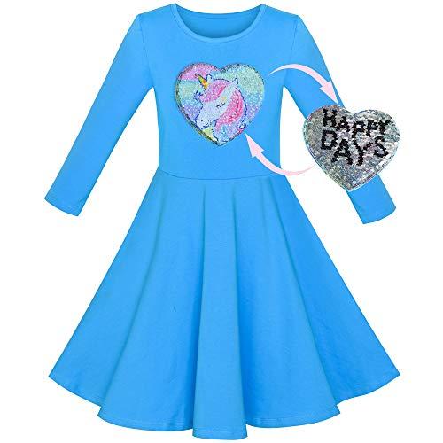 Sunboree Mädchen Kleid Baumwolle Blau Einhorn Pailletten Lange Ärmel Beiläufig Gr. 122
