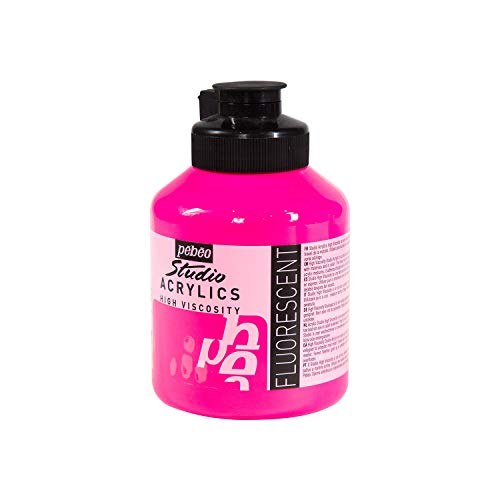 Pébéo - Acrilico Fine Studio Acrilici - Vernice Acrilica Rosa Fluorescente - Vernice Acrilica Fluorescente - Rosa Fluorescente 500 ml