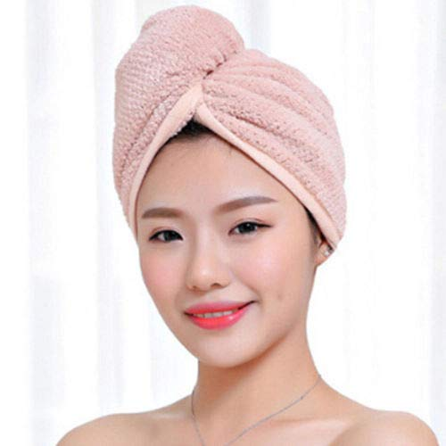 IAMZHL Twist Dry Shower Microfiber Hair Wrap Towel Drying Bath Spa Head Head Hat Hat Women -Pink