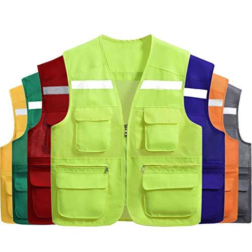 DBSCD Sicherheitsweste für Männer, freiwillige atmungsaktive Weste Multi-Pocket-Weste Sicherheitsweste (fluoreszierend grün, XL)