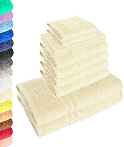 Lavea Juego de toallas Elena de 10 piezas, color crema, 4 toallas de mano, 2 toallas de ducha, 2 toallas de invitados, 2 manoplas de baño, 100% algodón