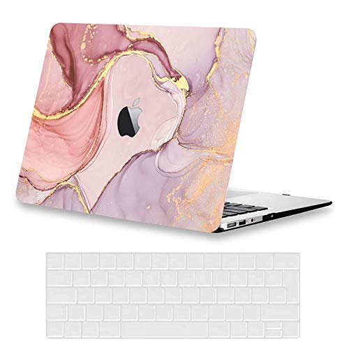 AUSMIX Hülle für MacBook Air 13 A1466/A1369 (2012-2017 Freisetzung), Ultradünne Plastik Hartschale Hülle Zubehör mit EU Transparente Tastaturschutz Schutzhülle für MacBook Air 13.3 Zoll,Marmorrosa