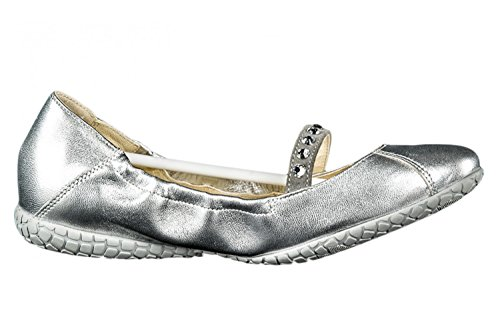 Scarpe N.35 donna CESARE PACIOTTI 4US ballerine argento silver pelle strass X965