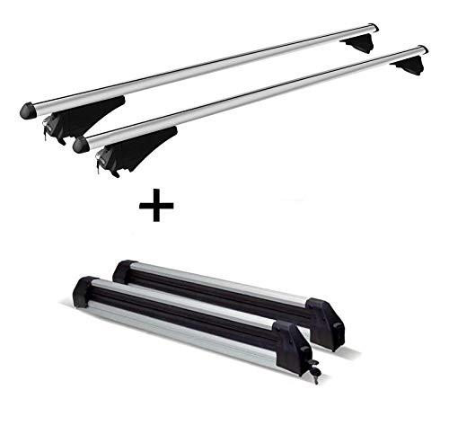 VDP Relingträger Tiger XL + Skiträger/Snowboardträger/Skihalter Silver Ice ausziehbar kompatibel mit BMW X3 F25 ab 10